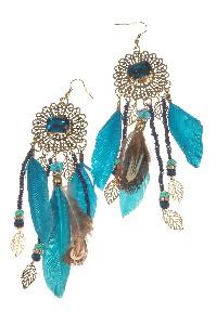 Veren oorbellen turqoise - Wings Byou
